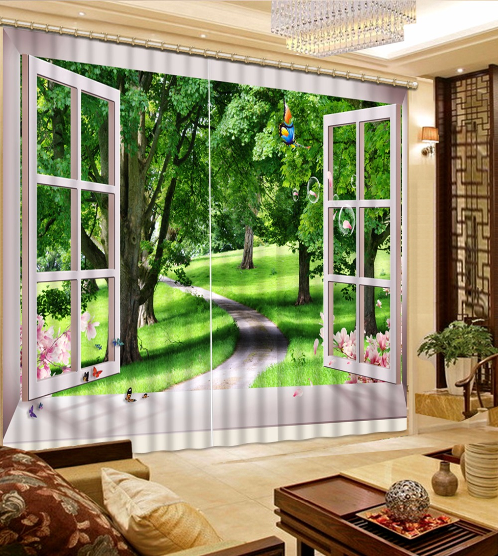 3D Curtain New Custom 3D Beautiful Window Woods For ... on Beautiful Bedroom Curtains  id=74985