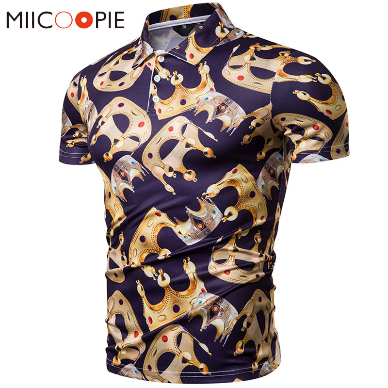 Summer Camisa   Polo   Shirt Men Business Casual Crown Printed   Polos   Homme Short Sleeve   Polos   Para Hombre Slim Fit Male Tops Tee XXL