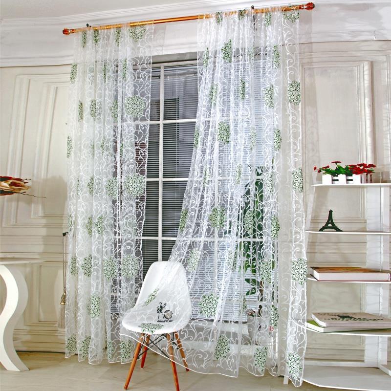 panel de cortina de tul floral calcomana calcomana bufanda de la sala home decor ventana cenefa