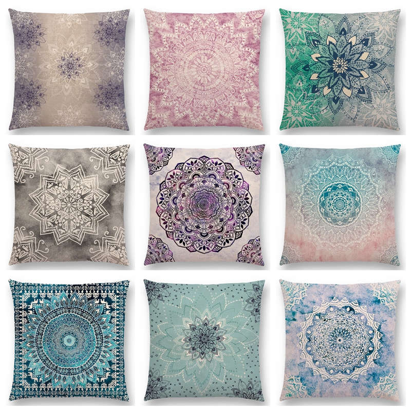 dreamy rainbow boho desert flower gorgeous mandalas starlight fantasy sky prints cushion cover decor sofa throw pillow case - Decorative Pillows Cheap