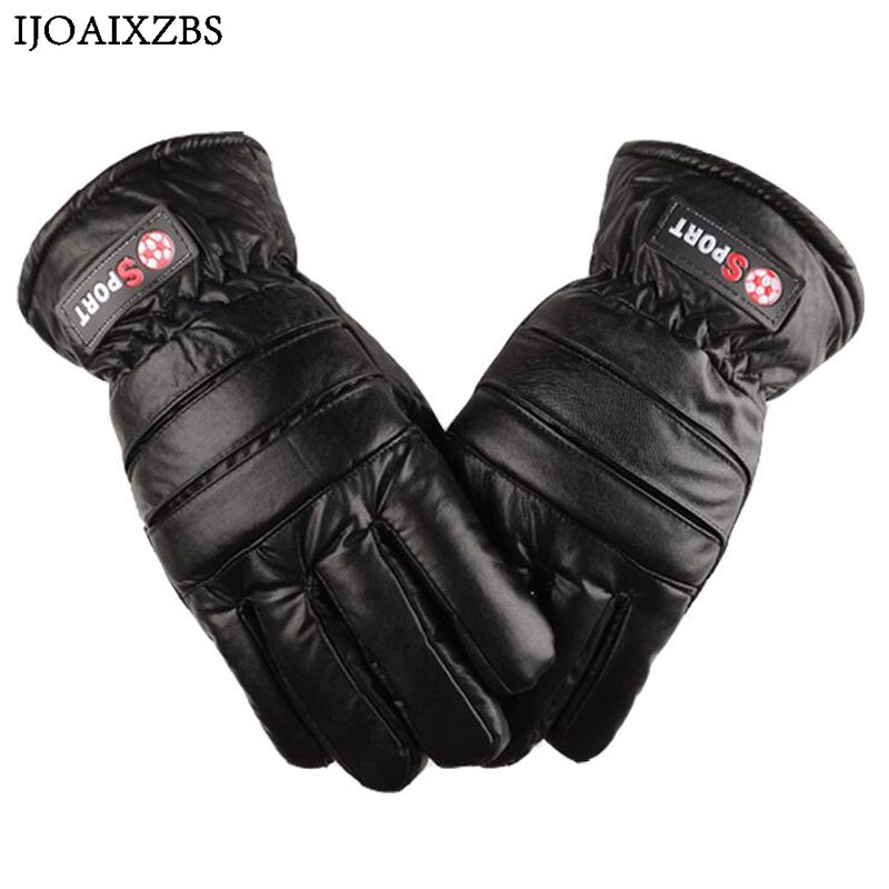 Winter Gloves Leater Sports Skiing Motorcycle Windproof Waterproof Velvet Plus Thickness Warm Men Gloves