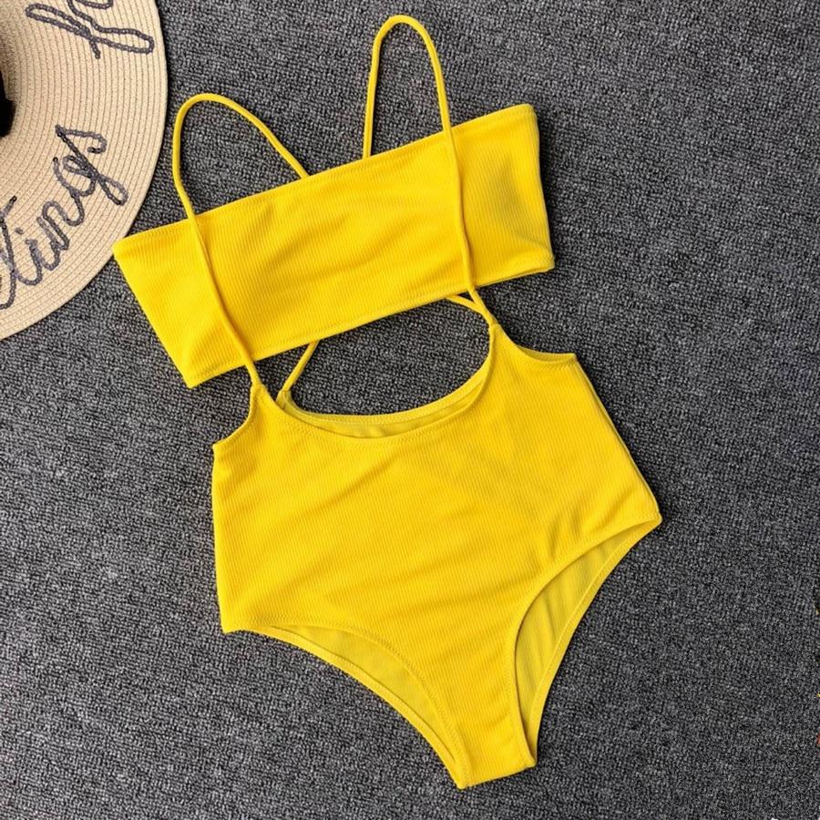 354c780dcced8 Bikiwave 2019 Sexy Bandeau Bikini Women Swimsuit Neon High Waist Swimwear  Cross Bandage Yellow Bikini Set Beach Bathing Suits