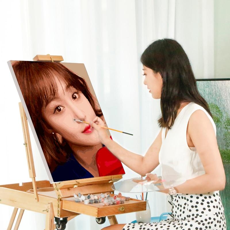 YIJIE-Photo peinture à lhuile avec numéros | Bricolage, peinture pour portrait famille de mariage, sur toile, personnalisé, digita