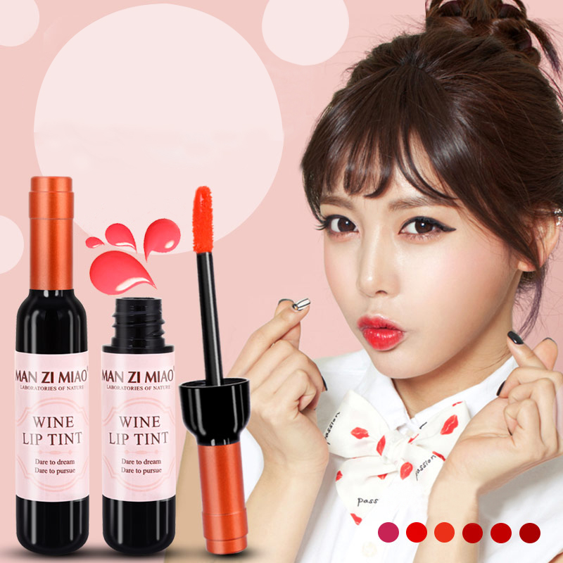 LEARNEVER New Arrival Wine Red Korean Style Lip Tint Baby Pink Lip For Women Makeup Liquid Lipstick Lip gloss red lips Cosmetic 2