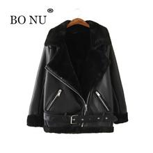BONU Fashion Winter Warm Fur Leather Jacket Women Europen Motorcycle Sashes Winter Jacket Women Jaqueta Feminine Basic Coats