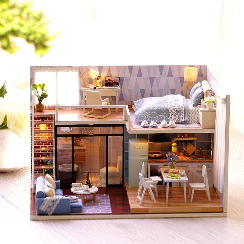 Diy Doll House Wooden Doll Houses Miniature Dollhouse Furniture Kit Toys For Children Dolls & Stuffed Toys