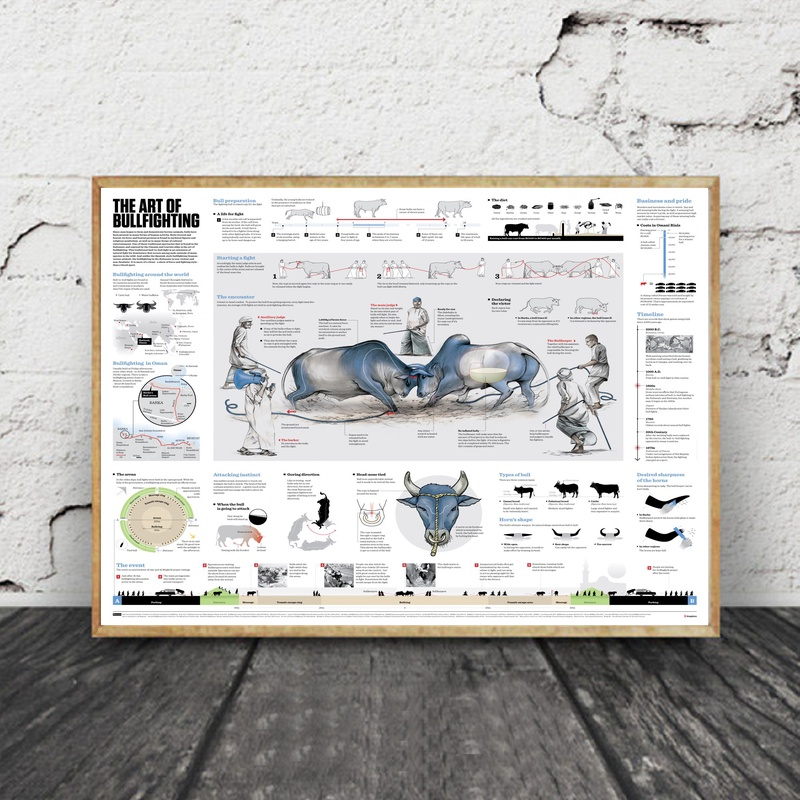 The Art of Bullfighting Infographic Chart Art Canvas Fabric Poster Prints Home Wall Decor Painting image