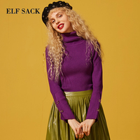 ELFSACK New Woman Sweater Solid Hand Knitted Casual Women Sweaters Turtleneck Full Short Purple Femme Pullovers Female Tops