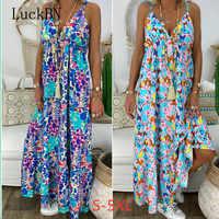 Frauen Kleid Mode Strand Sommer Kleider Neue Böhmische Blumen Druck Lange Urlaub Sling Tiefen V-ausschnitt Sexy Lose Große Größe Kleid