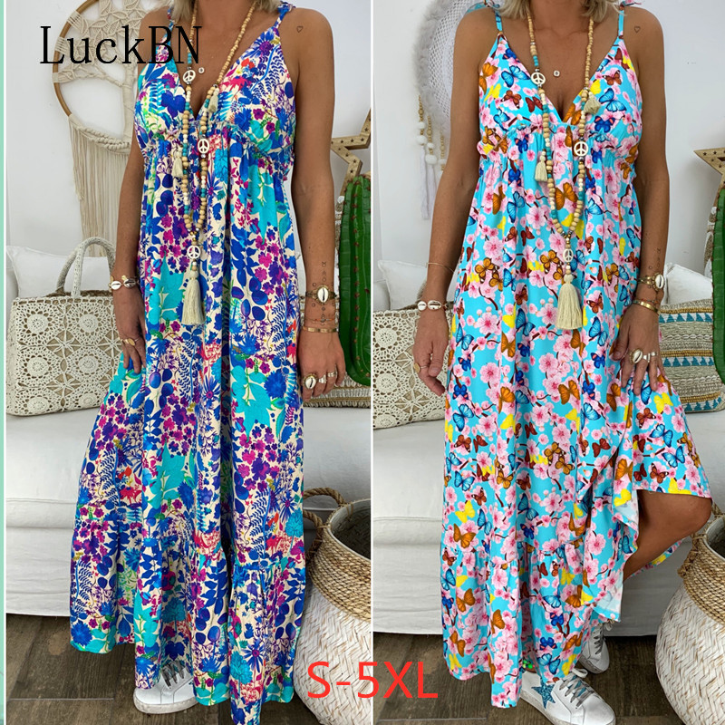 Women <font><b>Dress</b></font> Fashion Beach Summer <font><b>Dresses</b></font> New Bohemian Floral Print Long Holiday Sling <font><b>Deep</b></font> <font><b>V</b></font>-neck <font><b>Sexy</b></font> Loose Large Size <font><b>Dress</b></font> image