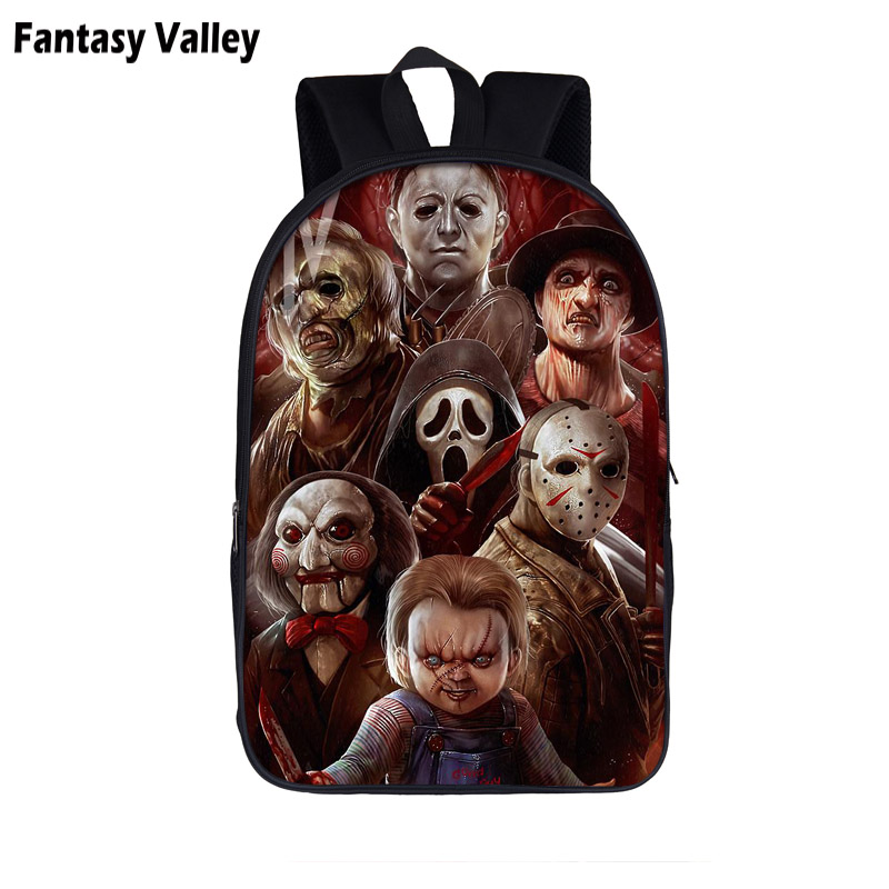 Horrorible Killers Backpack Chucky Jason Freddy Teenager Boys Girls Bag Children School Bags Kids Backpack Student Book Bags