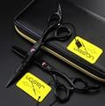 Jason negro tijeras del pelo 5.5 pulgadas rosa tornillo profesional peluquería peluquería tijeras tijeras de entresacar logotipo personalizado