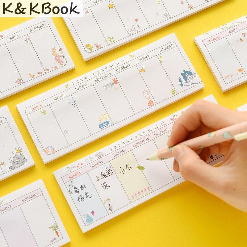 K&KBOOK 2 pcs Cute weekly plan memo pad Post it week planner