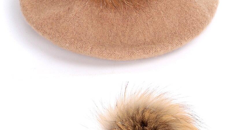 Берет художника, уличные шапки художника, осень и зима, новые теплые вязаные однотонные кепки, модный мех енота, помпон, берет в стиле винтаж