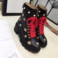 Популярная обувь, женские зимние ботинки, женские ботильоны из коровьей кожи на высоком массивном каблуке, женские ботинки, botas Zapatos De Mujer,