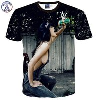 Mikeal Women Sexy T Shirt Summer Tops 3d T Shirt Print Sexy Jeans Lady Drinking