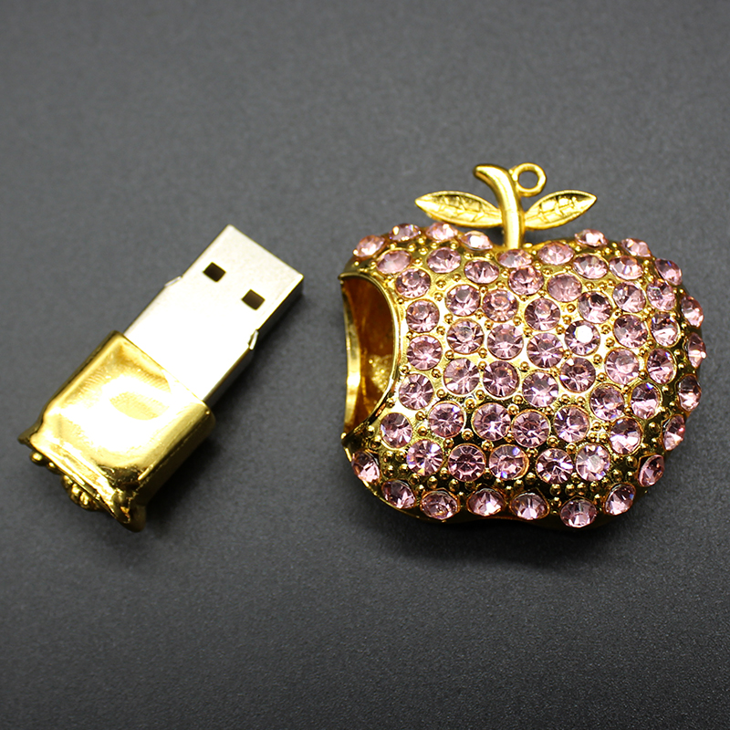 Diamond Apple USB Flash Drive 32GB 16GB 8GB 4GB Pendrive Jewelry Pen Drive 64GB Gift USB Memory Stick Flash Card Key USB 2.0