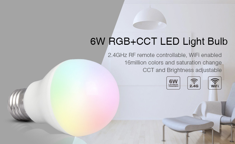 Free shipping Mi Light RGB+CCT 6W led bulb 2.4GHZ E27 smart mobile phone WIFI led light lamp AC85V-265V Dimmable Lampada LightsFree shipping Mi Light RGB+CCT 6W led bulb 2.4GHZ E27 smart mobile phone WIFI led light lamp AC85V-265V Dimmable Lampada Lights