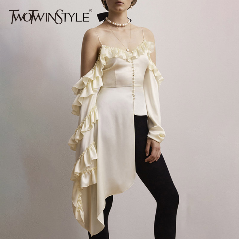 TWOTWINSTYLE Ruffles Shirt Female Strapless Off Shoulder Long Sleeve Asymmetrical Palazzo Blouse Top 2019 Fashion New