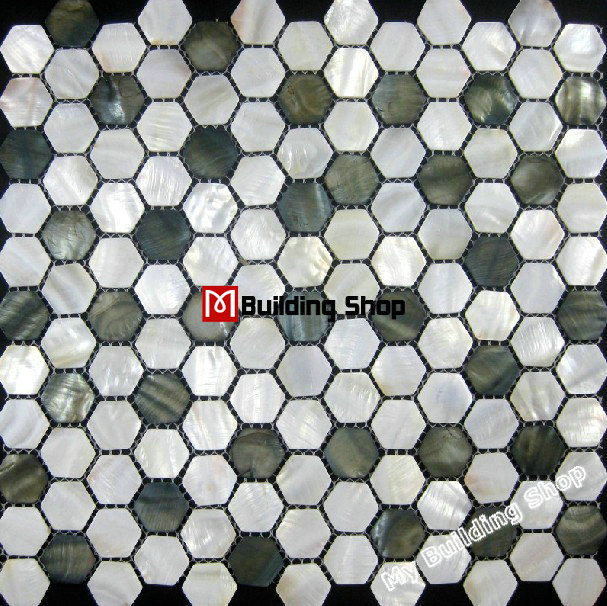 Hexagon Mother Of Pearl Mosaic Wall Tiles Backsplash Mop070 Black