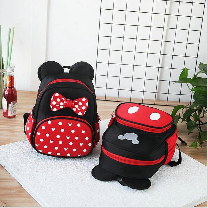 d5d34b0df99 все цены на New Fashion Cartoon Kindergarten Backpack Children Mickey  School Bags Minnie Backpack For Boys