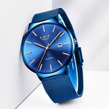 Mens Watches LIGE Top Brand Luxury Blue Waterproof Wrist Watches Ultra Thin Date