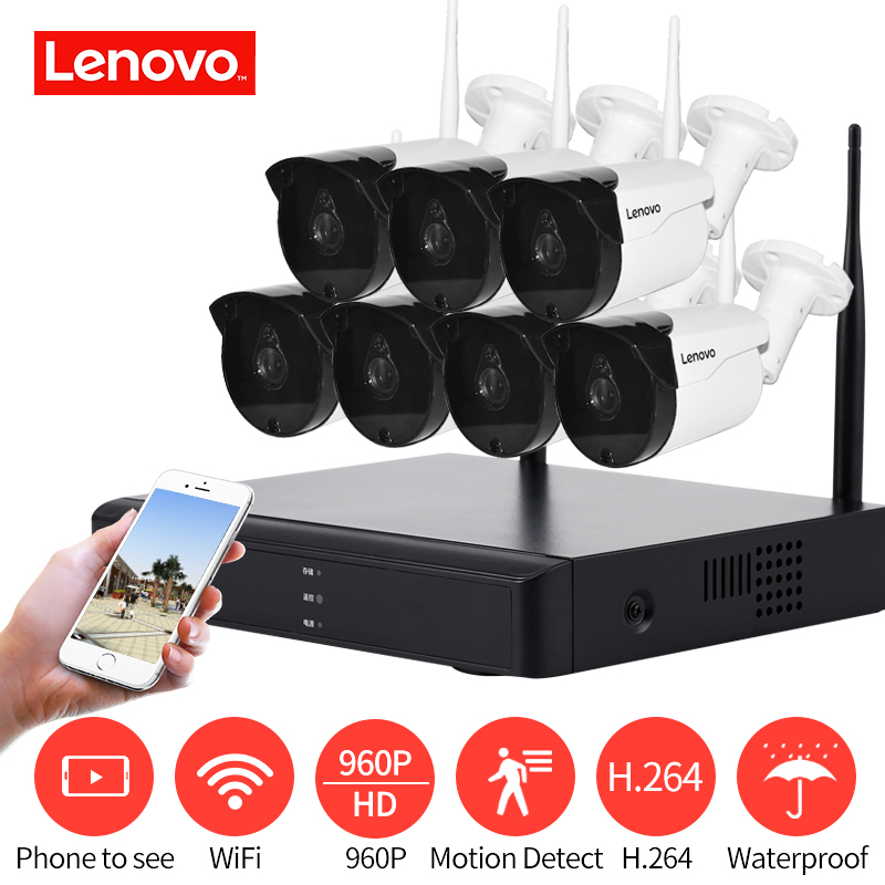 LENOVO 7CH Array HD Wireless Security Camera System DVR Kit 960P WiFi camera Outdoor HD NVR night vision Surveillance camera