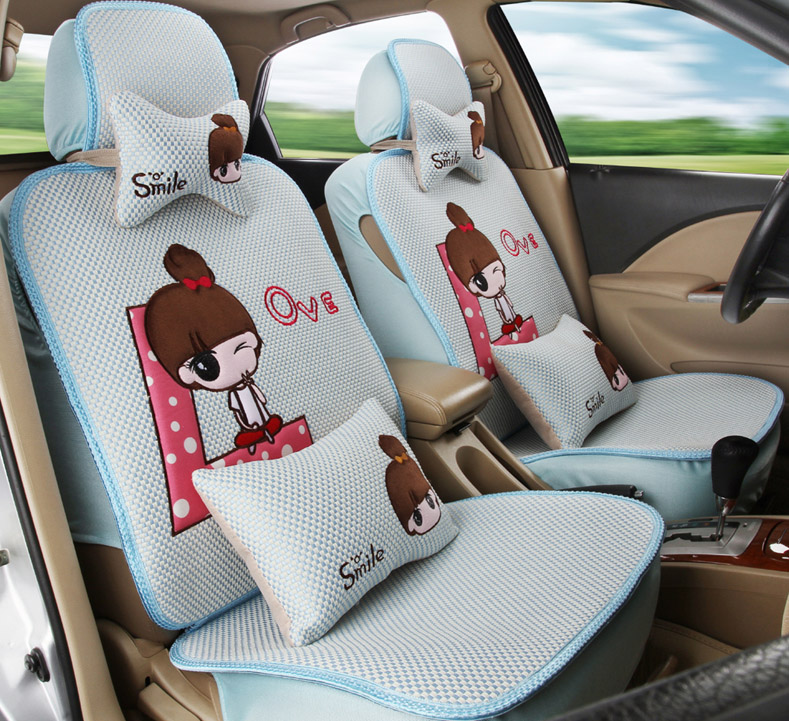 5 pcs / set female lace car seat covers 2016 new arrival four season women lace texture of material girls car seat cover cushion