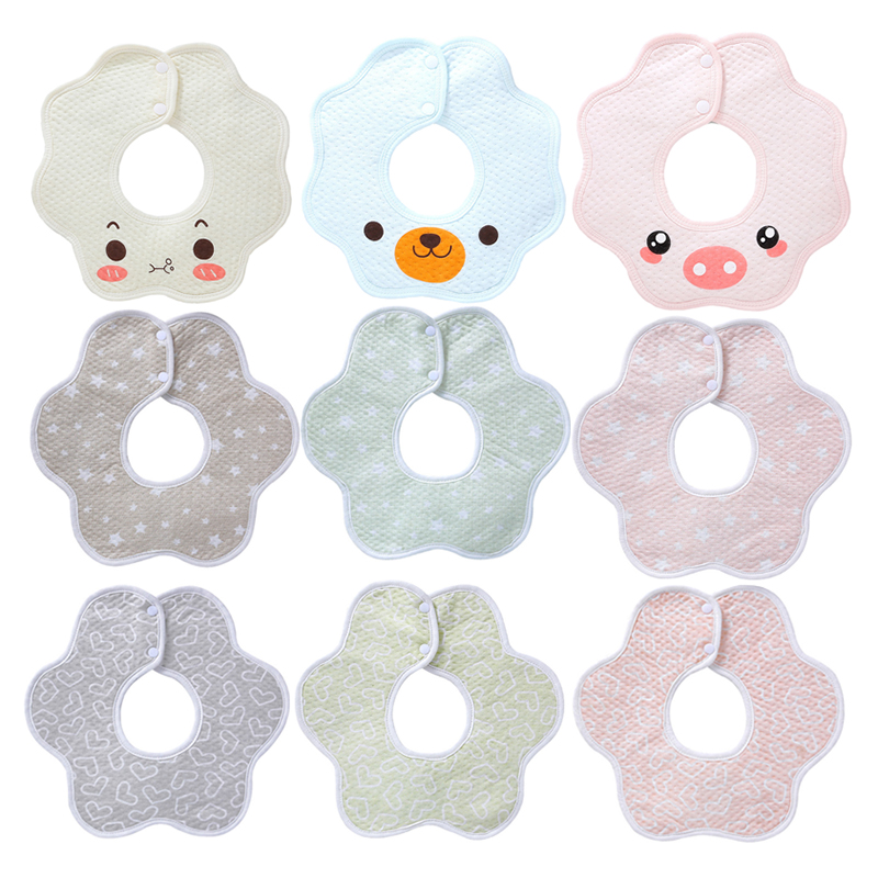 Baby Bibs Bandana Baby Burp Cloths Lovely Flower Style Baby Waterproof Bibs Rotating Double Snap Fashion Pattern Star Bibs