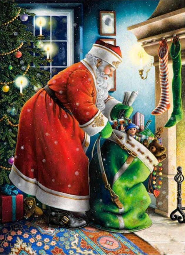 2018 Sale Direct Selling Paintings Pastoral Resin Scenic Diamond Embroidery Painting 5d Painting 3d Embroidery santa Clause