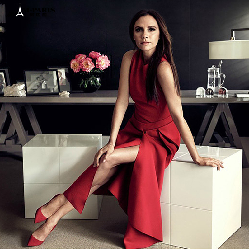 Best Quality Victoria Beckham Woman Dresses Solid Color Black/red Sleeveless Mid-calf OL Office Dress S-XL Size