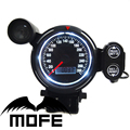 MOFE Original Logo White LED Display + Black LCD 80MM Speedometer Meter With Shift Light Green Color
