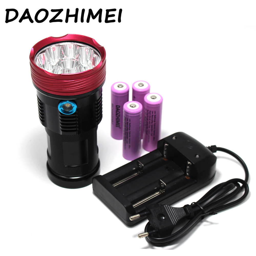9T6 Tactical Led Flashlight 20000 Lumen 9xCree XM-L T6 Led Lantern Lamp Torch For Hunting Work Camp+4x18650 Battery + Charger блузка quelle zarina 1013014