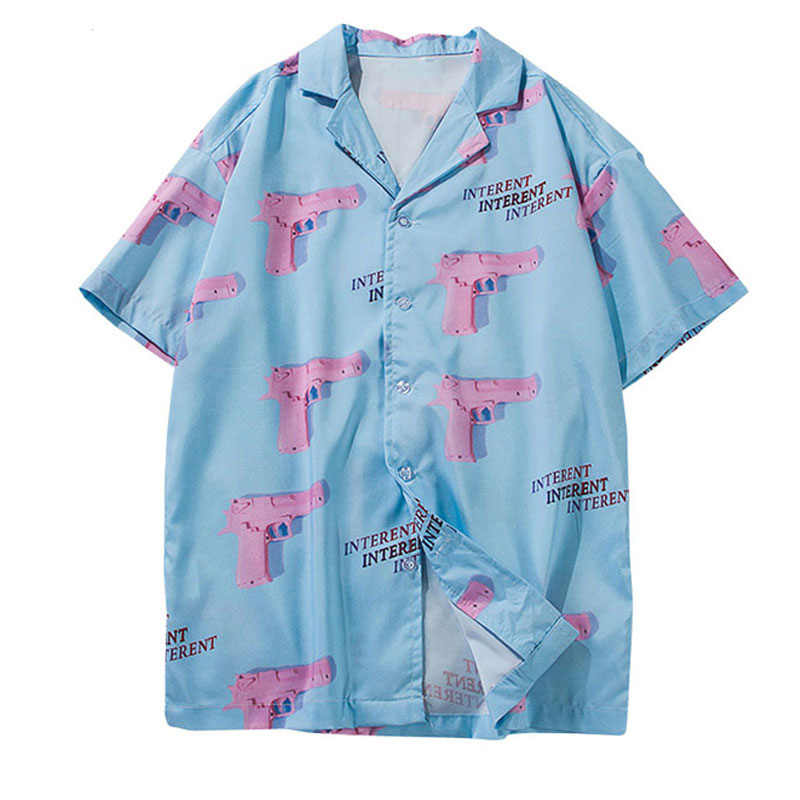 Pistol Gun Print Aloha Hawaii Beach Shirts 2019 Mens Summer Casual Short Sleeve Streetwear Hawaiian Shirt Fashion Tops Cotton