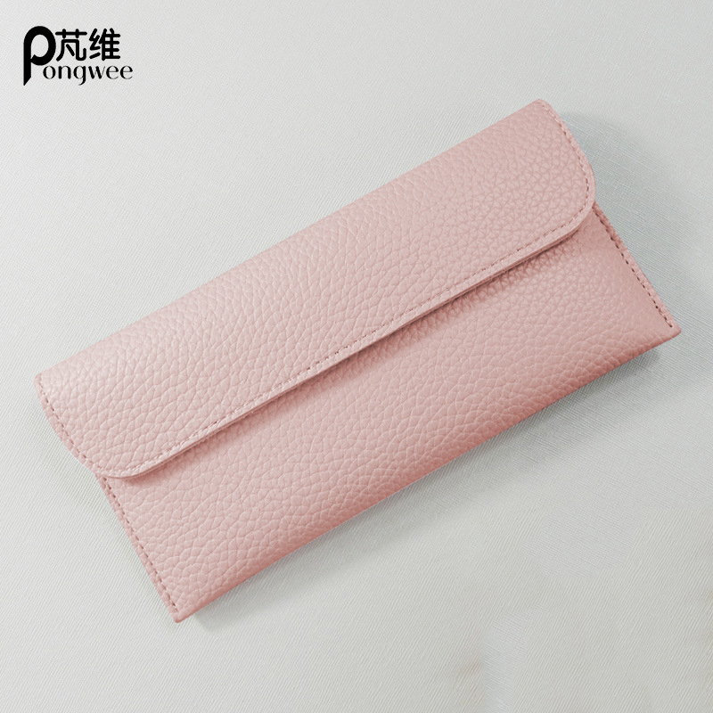 PONGWEE New ladies wallet thin long section of large capacity solid color high quality PU phone