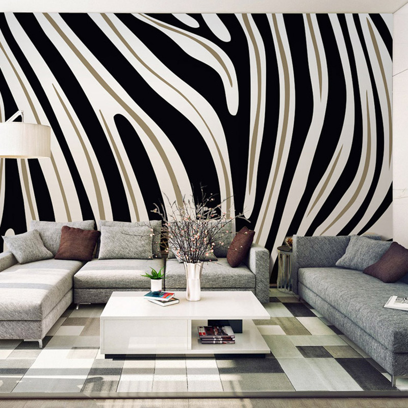 Customized size simple textured black and white striped photo wallpaper for bedroom living room for Black and white striped wallpaper living room