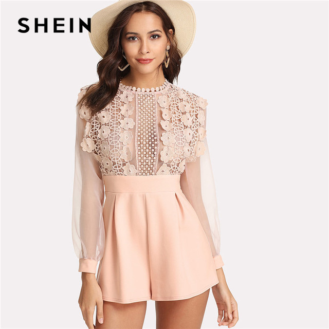 e76dcdbe05 SHEIN Pink Pastel Floral Lace Rompers Womens Jumpsuit Sexy Jumpsuits High  Waist Wide Leg Applique See Through Bodice Romper