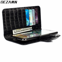 Universal Crocodile Genuine Leather Wallet Case 4.7 5.2inch less Up Clip On Magnetic Flip Cover