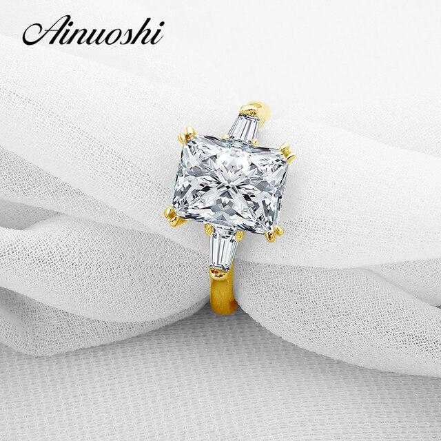 AINUOSHI 10k Pure Yellow Gold Ring 3 Carat Big Brilliant Rectangle