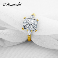 AINUOSHI 10k Solid Yellow Gold Wedding Ring Big Brilliant 3 Ct Rectangle Cut Simulated Diamond Anillos