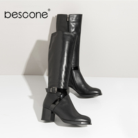 BESCONE Elegant Knee High Boots Round Toe With Metal Decoration Square Heel Shoes Polished Decoration Basic Boots BA26