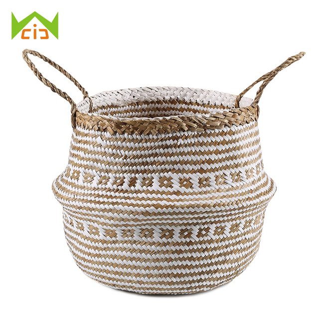 WCIC Wicker Large Flower Plant Pots Garden Pots Planters Seagrass Storage  Basket Plant Pot Decorative Flowerpot