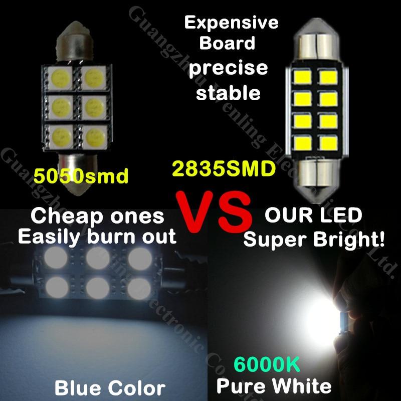 WLJH 12x čisto bijelo Canbus ogledalo LED dioda za unutarnju - Svjetla automobila - Foto 4