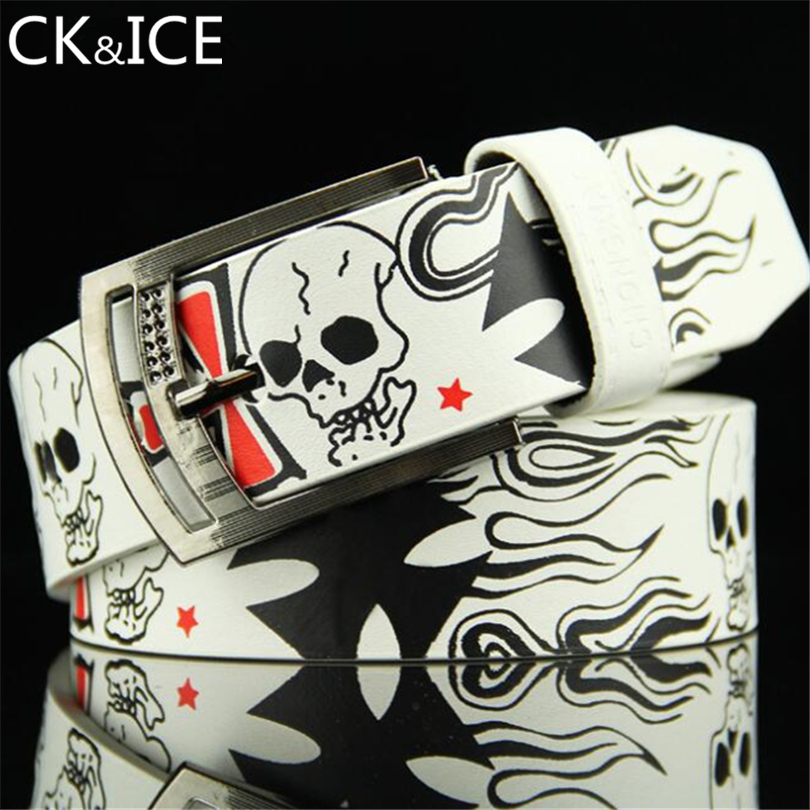 CK&ICE New Arrivals Punk Skull Printed Pattern Belts Women Men Belts PU Leather Alloy PIN Buckle Waistband Unisex Accessories