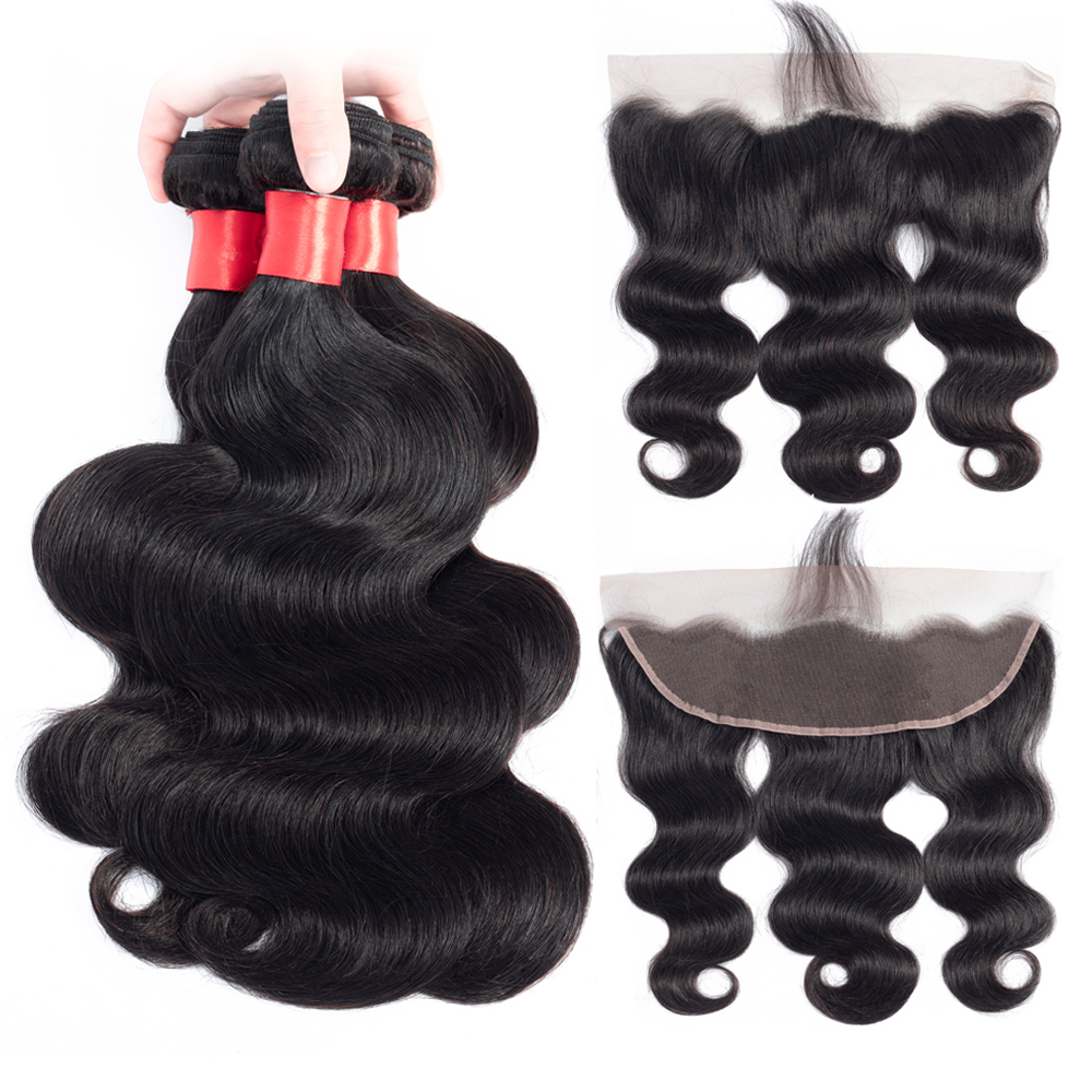 Superfect Brazilian Body Wave 3 4 Bundles With Frontal 100 Human Hair 13x4 Free Part Lace