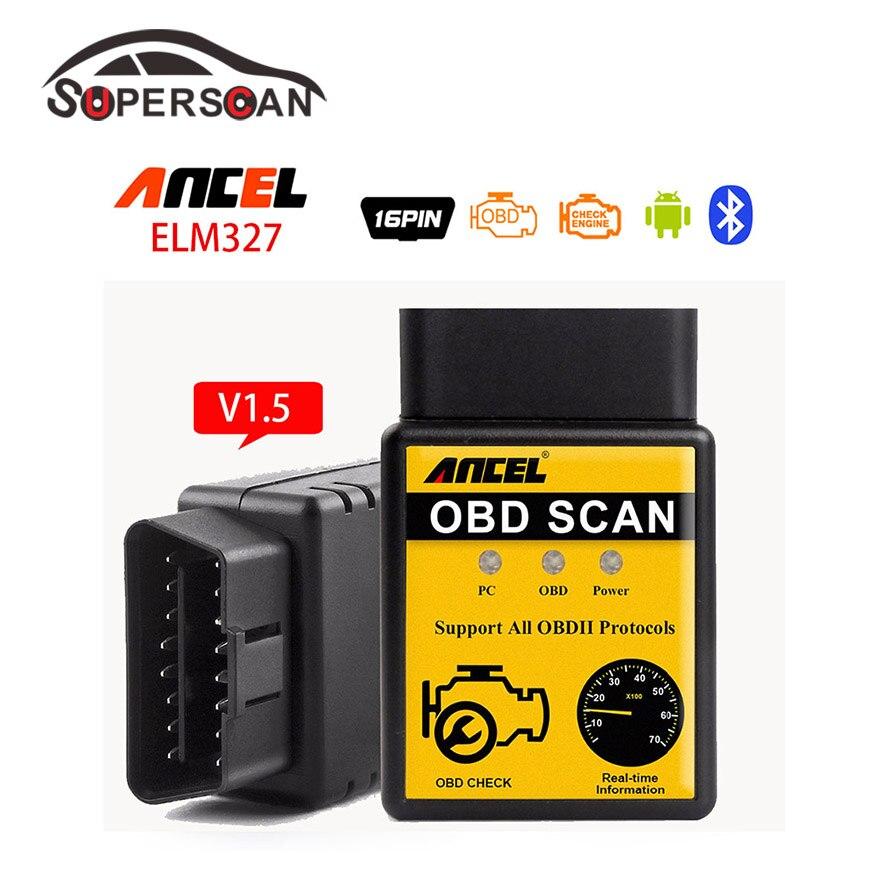 Ancel Mini ELM327 Bluetooth V1.5 OBD 2 Scan Strumenti di Auto rilevatore di auto Diagnostica Scanner OBDII OBD2 ELM 327 Auto Diagnostica strumento