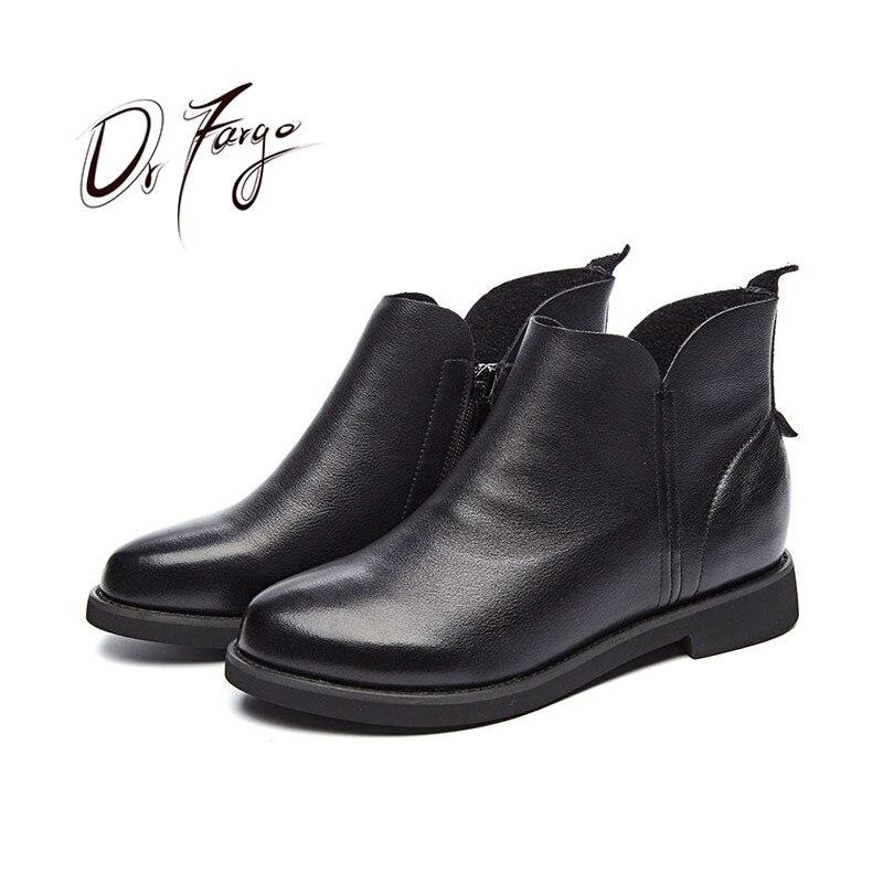 DRFARGO 2019 mode en cuir véritable chaussures femmes talon bas plat bottines printemps automne Femme Chaussure Plus grande taille 43 zapato