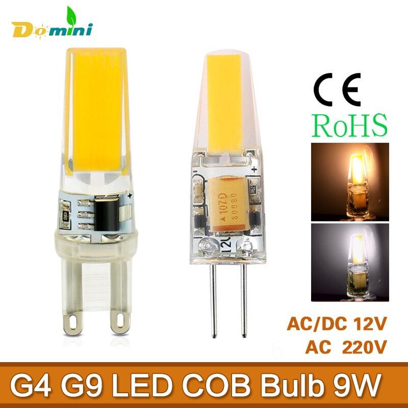 Светодиодные лампы <font><b>G9</b></font> G4 9 Вт лампада Светодиодная лампа AC DC 220 Вт приглушить <font><b>cob</b></font> огни заменить галогенные люстры огни Spotlighting для дома