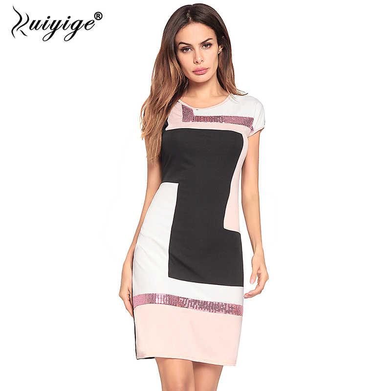 fe51ad45a5c91bd Ruiyige 2018 Для женщин блесток лоскутное Летнее платье О-образным вырезом  Повседневное Falda Vestidos Sexy