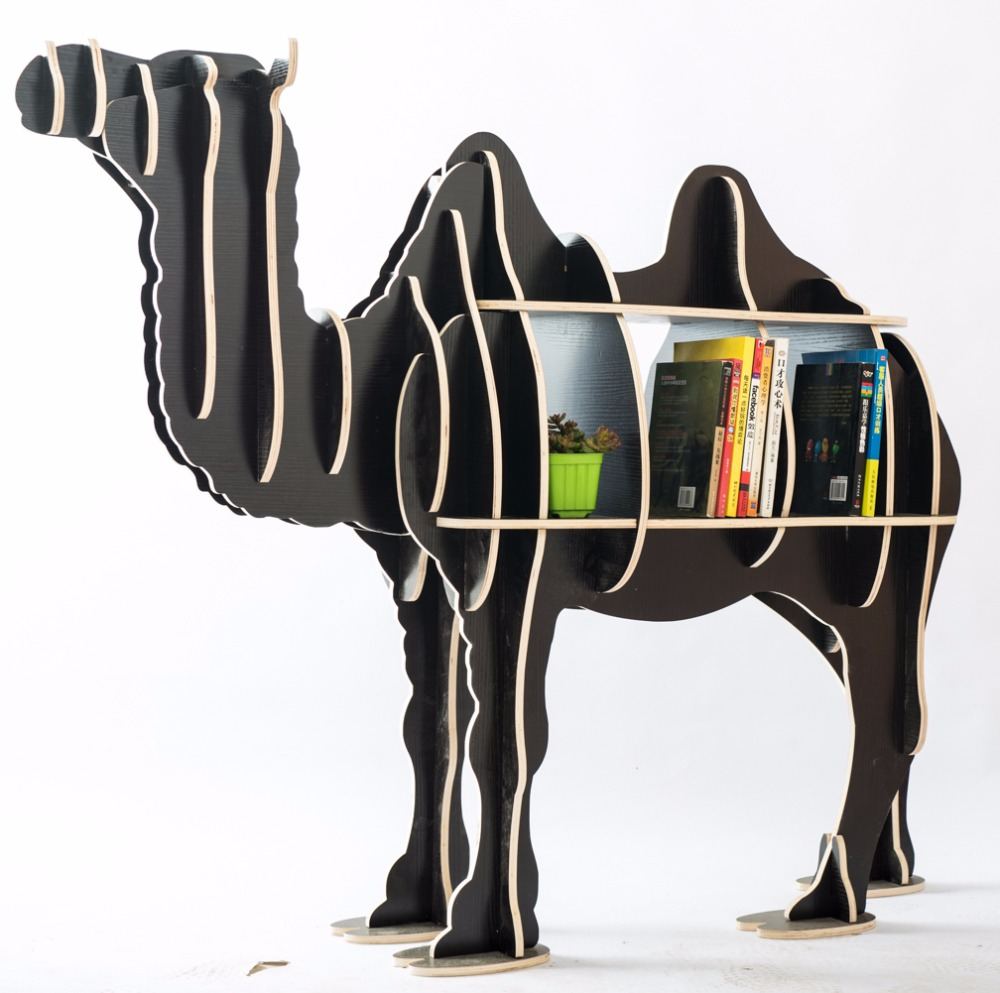 Large Bookcase Display Storage Furniture for CDs, Movies &Books Animal Camel Display Bookrack Wooden Bookcase Shelves Desk Table mid century wooden desk